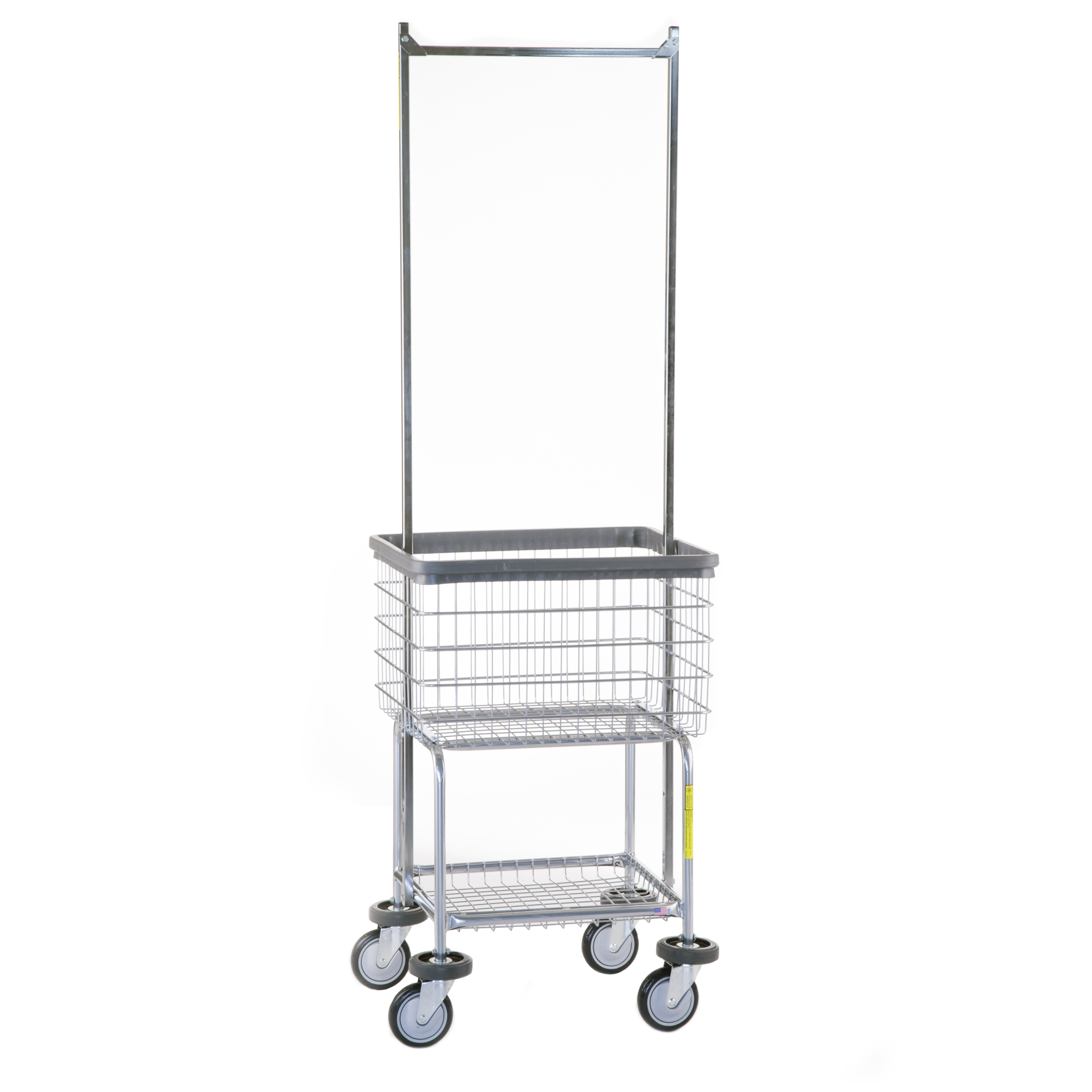 Deluxe Elevated Heavy Duty Laundry Cart W/Dbl. Pole Rack